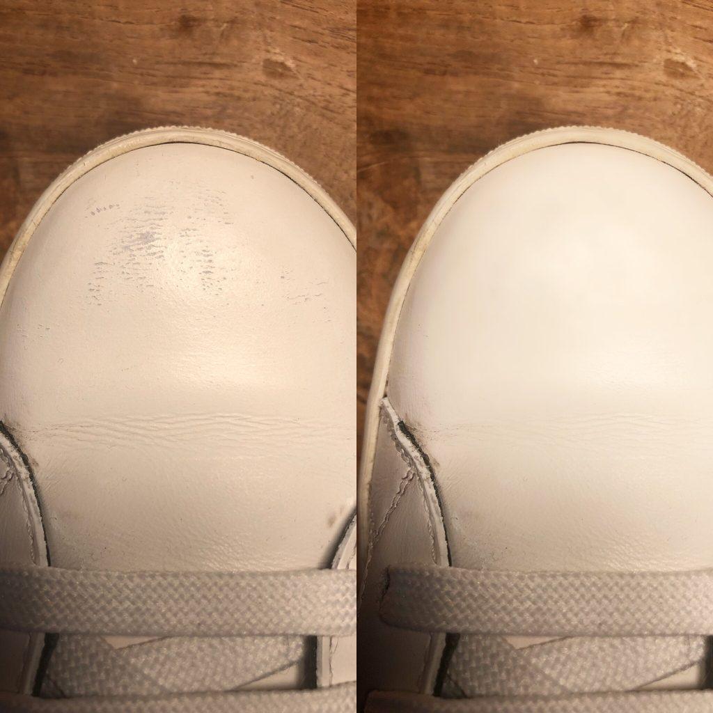 Vorher nachher Bild Schuhe pflegen